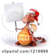 Clipart Of A 3d Red Christmas Dragon Wearing A Santa Hat And Holding A Sign Royalty Free Vector Illustration