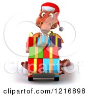 Clipart Of A 3d Red Dragon Pushing Christmas Presents On A Dolly Royalty Free Vector Illustration