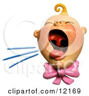 Clay Sculpture Clipart Baby Girl Screaming Royalty Free 3d Illustration by Amy Vangsgard #COLLC12169-0022