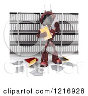 Clipart Of A 3d Red Android Robot Reading Documents Royalty Free Illustration