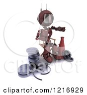 Clipart Of A 3d Red Android Robot Movie Director Working Royalty Free Illustration