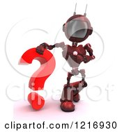 3d Red Android Robot With A Question Mark