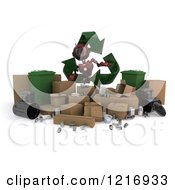 Clipart Of A 3d Red Android Robot With Recycle Items Royalty Free Illustration