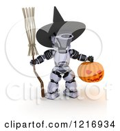 Clipart Of A 3d Robot Dressed As A Witch For Halloween Royalty Free Illustration
