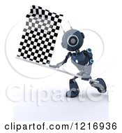 Clipart Of A 3d Blue Android Robot Waving A Checkered Racing Flag Royalty Free Illustration by KJ Pargeter