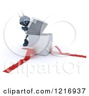 Clipart Of A 3d Blue Android Robot Opening A Gift Box Royalty Free Illustration