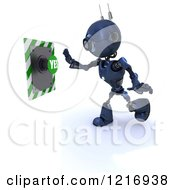 Poster, Art Print Of 3d Blue Android Robot Pushing A Yes Button