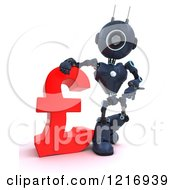 Clipart Of A 3d Blue Android Robot With A Lira Symbol Royalty Free Illustration