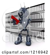 Clipart Of A 3d Blue Android Robot Reading Files Royalty Free Illustration