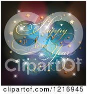 Clipart Of A Happy New Year Greeting Over Colorful Flares And Stars Royalty Free Vector Illustration