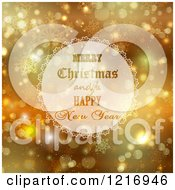 Clipart Of A Merry Christmas And A Happy New Year Over Gold With Snowflakes And Sparkles Royalty Free Vector Illustration