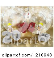 Clipart Of 3d New Year White Construction Characters Replacing 2013 With 2014 Over Gold Royalty Free Illustration