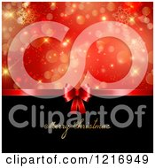 Clipart Of A Merry Christmas Greeting With A Red Gift Bow Snowflakes And Bokeh Royalty Free Vector Illustration
