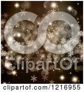 Clipart Of A Background Of Snowflakes And Christmas Bokeh Lights Royalty Free Illustration
