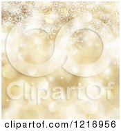 Clipart Of A Golden Background Of Snowflakes And Christmas Bokeh Lights Royalty Free Illustration