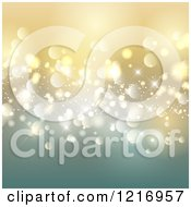 Clipart Of A Gradient Golden Background With Christmas Bokeh Lights Royalty Free Vector Illustration