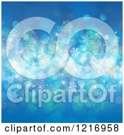 Clipart Of A Blue Background With Flares Snowflakes And Stars Royalty Free Vector Illustration