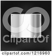 Clipart Of A 3d Shiny Metal Plaque On Black Leather Royalty Free Vector Illustration