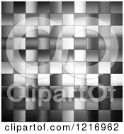 Clipart Of A Grayscale Background Of Metal Tiles Royalty Free Illustration