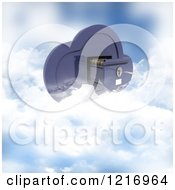 Clipart Of A 3d Cloud Computing Filing Cabinet Royalty Free Illustration