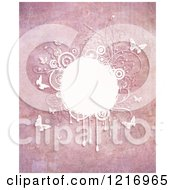 Pink Grungy Backgorund With Butterflies And Foliage In White