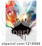 Clipart Of A Silhouetted Dancing Crowd On Grunge Over Abstract Lights Royalty Free Vector Illustration