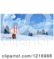 Clipart Of A 3d Christmas Elf Carrying Gifts In The Snow Royalty Free Illustration