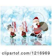 Clipart Of A 3d Santa And Christmas Elves Carrying Gifts Over Blue With Bokeh And Snowflakes Royalty Free Illustration