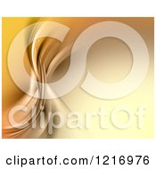 Clipart Of A Golden Abstract Background With Flowing Curves Royalty Free Illustration