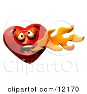 Clay Sculpture Clipart Heart Breathing Spicy Hot Fire Royalty Free 3d Illustration
