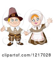 Clipart Of A Friendly Thanksgiving Pilgrim Couple Waving Royalty Free Vector Illustration by yayayoyo