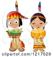 Clipart Of Cute Thanksgiving Native American Indian Children With Corn And A Pumpkin Royalty Free Vector Illustration