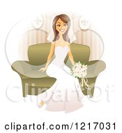 Happy Brunette Bride Sitting On A Couch