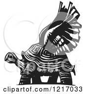 Clipart Of A Woodcut Winged Tortoise In Black And White Royalty Free Vector Illustration by xunantunich