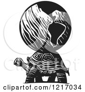 Clipart Of A Woodcut Tortoise Carrying The World On Its Back In Black And White Royalty Free Vector Illustration by xunantunich