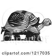 Clipart Of A Woodcut Tortoise In Black And White Royalty Free Vector Illustration