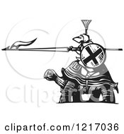 Clipart Of A Woodcut Knight Riding A Totoise In Black And White Royalty Free Vector Illustration