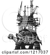 Clipart Of A Woodcut Tortoise With An Oil Rig In Black And White Royalty Free Vector Illustration