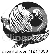 Clipart Of A Woodcut Whale With A Globe In Black And White Royalty Free Vector Illustration