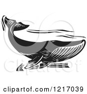Woodcut Whale Swimming In Black And White