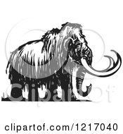 Clipart Of A Woodcut Mammoth In Black And White Royalty Free Vector Illustration