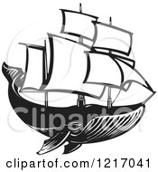 Clipart Of A Woodcut Whale With Sails In Black And White Royalty Free Vector Illustration by xunantunich