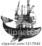 Clipart Of A Woodcut Whale With An Oil Rig In Black And White Royalty Free Vector Illustration
