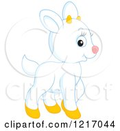 Clipart Of A Cute White Goat Royalty Free Vector Illustration by Alex Bannykh