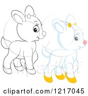 Clipart Of A Cute Outlined And White Goat Royalty Free Vector Illustration