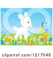 Poster, Art Print Of Cute White Goat And Butterfly In A Meadow With Flowers