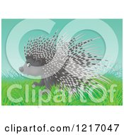 Clipart Of A Cute Airbrushed Porcupine On A Hill Royalty Free Illustration by Alex Bannykh