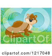 Clipart Of A Cute Weasel In A Meadow Royalty Free Illustration by Alex Bannykh