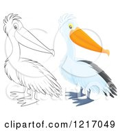 Clipart Of A Cute Airbrushed Pelican In Color And Outline Royalty Free Illustration by Alex Bannykh