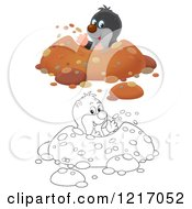 Clipart Of A Cute Outlined And Colored Gopher Digging A Hole In A Meadow Royalty Free Illustration
